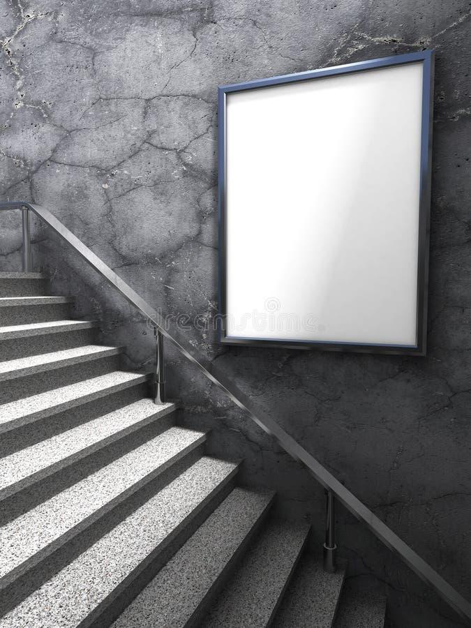 Tom modell för advertizingaffischtavla på betongväggen med stegen royaltyfri foto