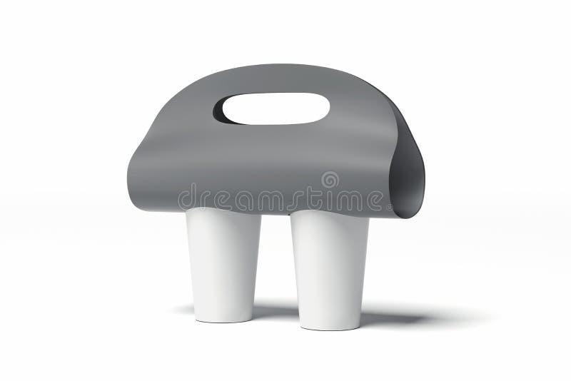 Tom modell för bärare för kaffekopp som isoleras på vit bakgrund framförande 3d vektor illustrationer