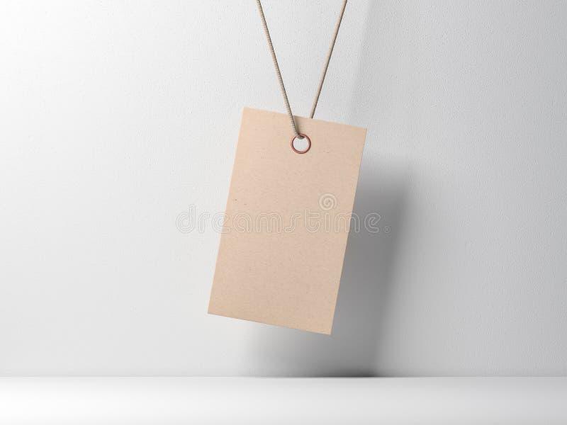 Tom modell för etikett för etikett för kraft papper som binds på rep mot den vita väggen stock illustrationer