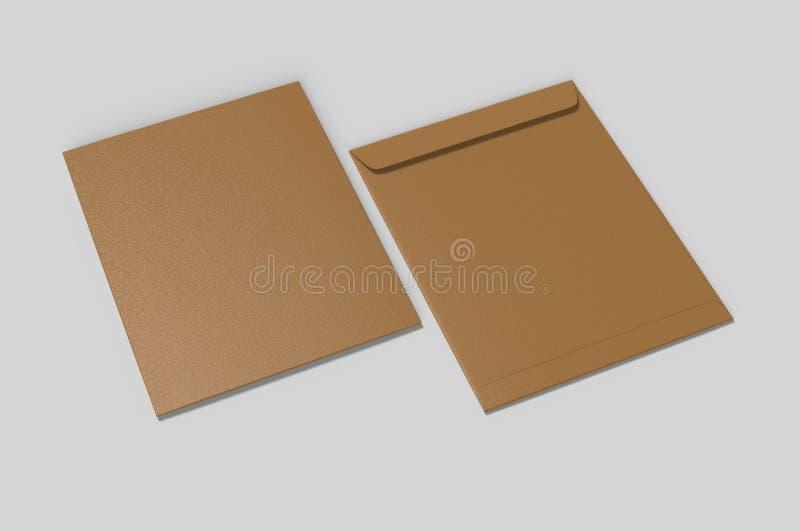 Tom modell för kuvert C4, tom mall illustrationen 3d framför arkivbilder