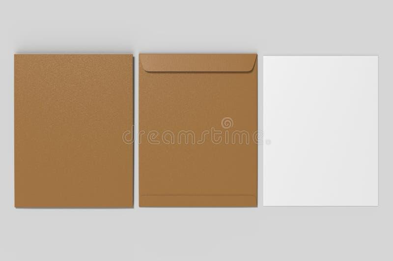 Tom modell för kuvert C4, tom mall illustrationen 3d framför royaltyfri foto