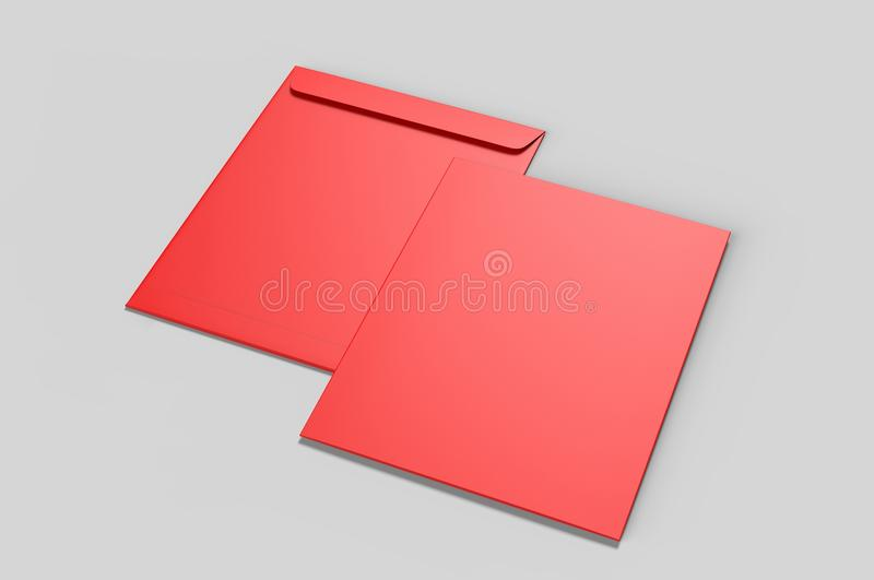 Tom modell för kuvert C4, tom mall illustrationen 3d framför fotografering för bildbyråer