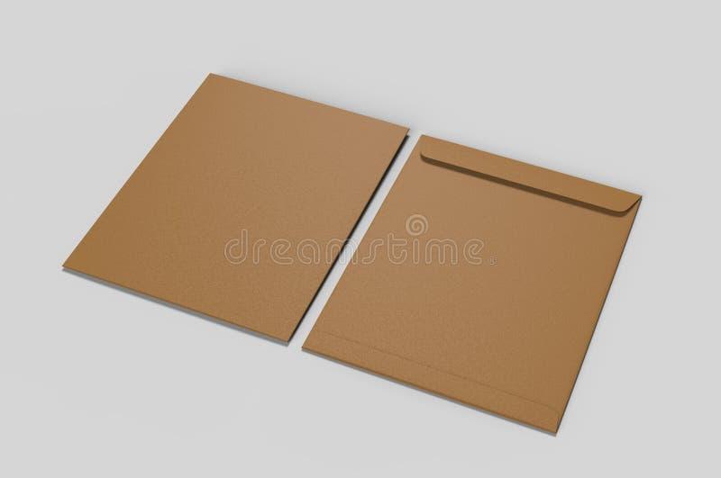 Tom modell för kuvert C4, tom mall illustrationen 3d framför royaltyfri fotografi