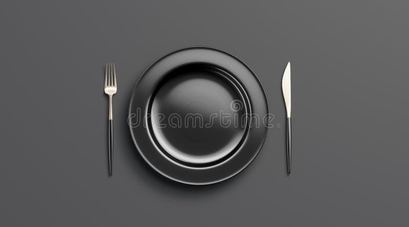 Tom modell för svart platta med gaffeln och kniven, bästa sikt royaltyfri illustrationer