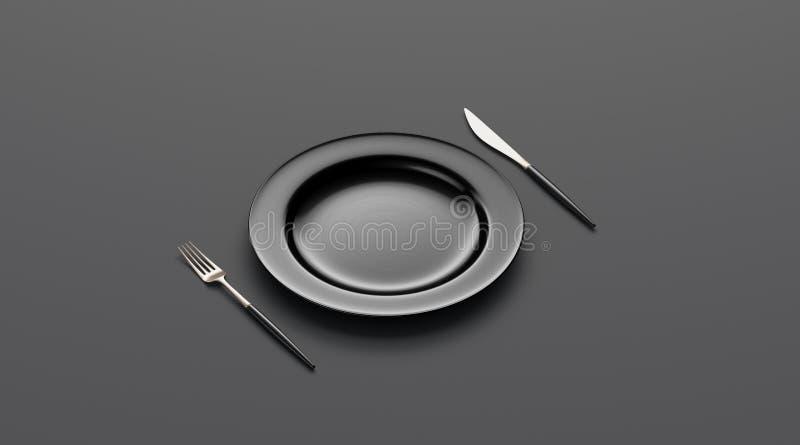 Tom modell för svart platta med gaffeln och kniven, sidosikt royaltyfri illustrationer