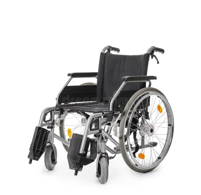Tom modern rullstol på vit bakgrund royaltyfri foto