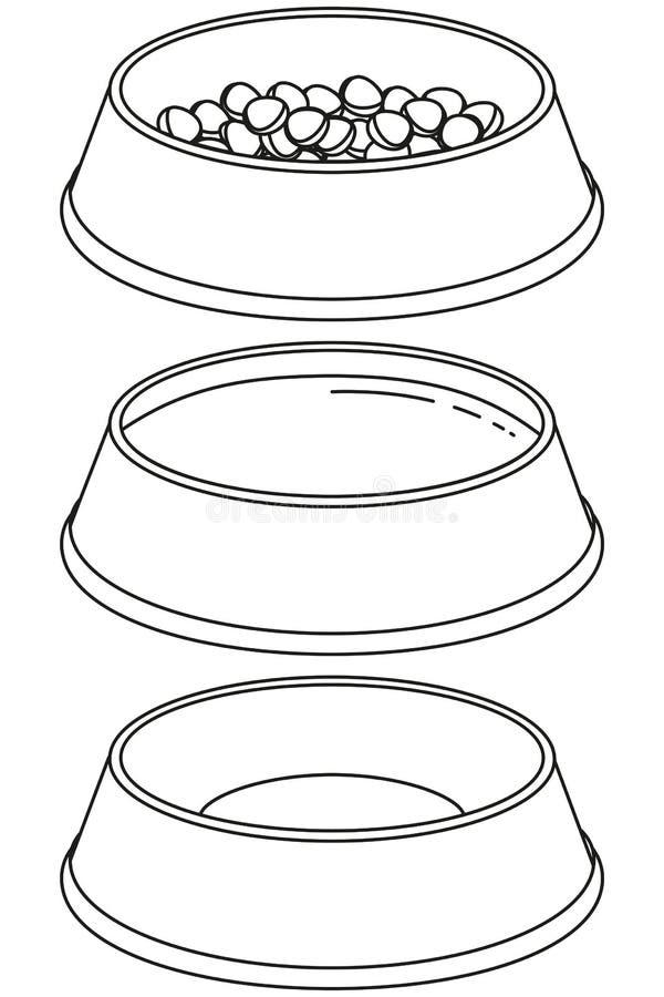Tom och full bunkeuppsättning för svartvit älsklings- mat vektor illustrationer