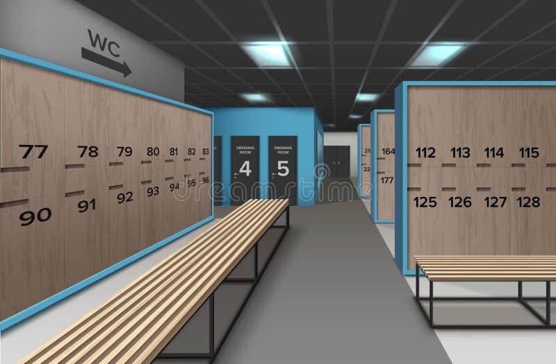 Tom omklädningsrum med låsbara skåp stock illustrationer