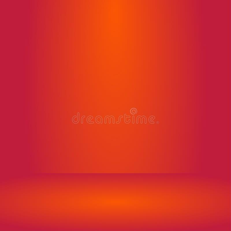 tom orange för studiorum för röd färg bakgrund, mallåtlöje upp för skärm eller montage av produkten, affärsbakgrund vektor illustrationer