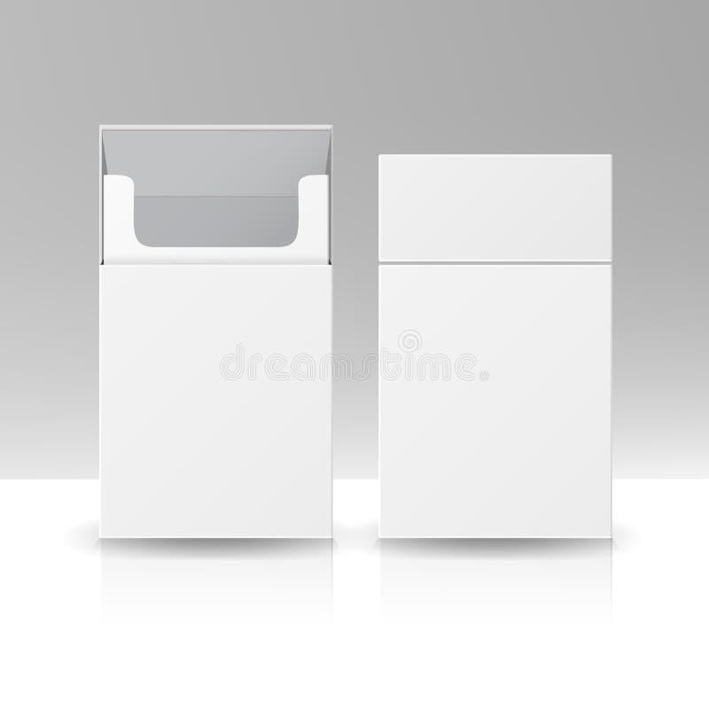 Tom packepackeask av vektormallen för cigaretter 3D för design Öppnad packe av isolerade cigaretter stock illustrationer