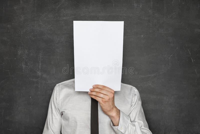 Tom pappers- arkframdel av affärsmanhuvudet royaltyfria bilder