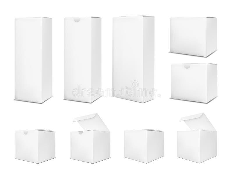 Tom pappers- ask på vit bakgrund vektor illustrationer