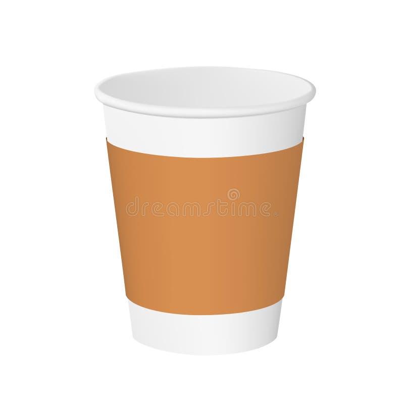 Tom pappers- kopp med den kraft muffen som isoleras på vit bakgrund vektor vektor illustrationer
