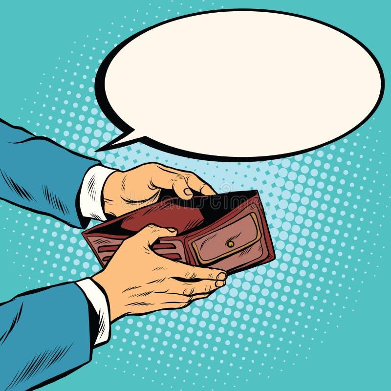 Tom plånbok, inga pengar royaltyfri illustrationer