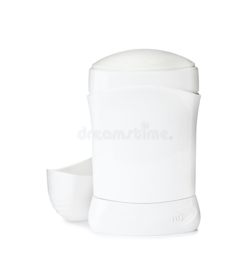 Tom plast- deodorantbehållare på vit royaltyfria foton