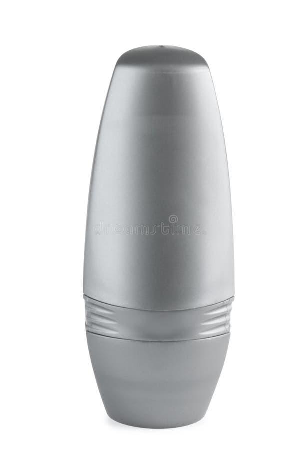 Tom plast- deodorantbehållare på vit royaltyfri fotografi