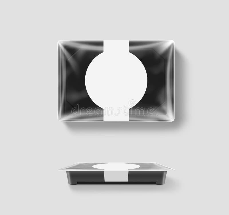 Tom plast- disponibel modell för matbehållare, genomskinligt folielock royaltyfri illustrationer