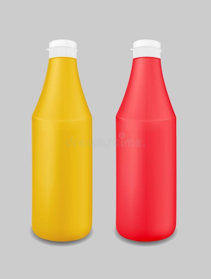 Tom plast- flaska för ketchup, sås, senap, majonnäs vektor illustrationer