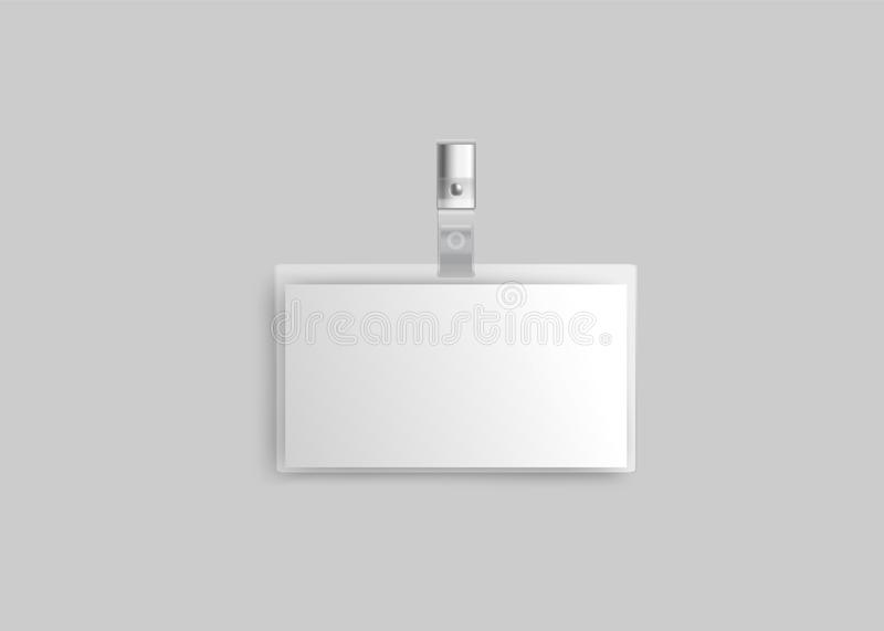 Tom plast- legitimationemblemmodell på metallgemet, vitt identitetskort för affärshändelseID stock illustrationer