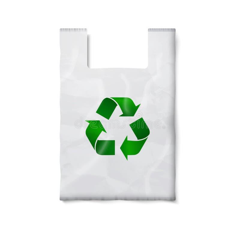 Tom plastpåse med det gröna återvinningtecknet royaltyfri illustrationer