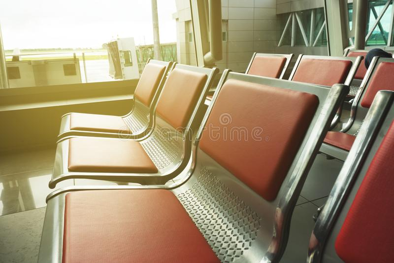 Tom plats på flygplatsen royaltyfri fotografi