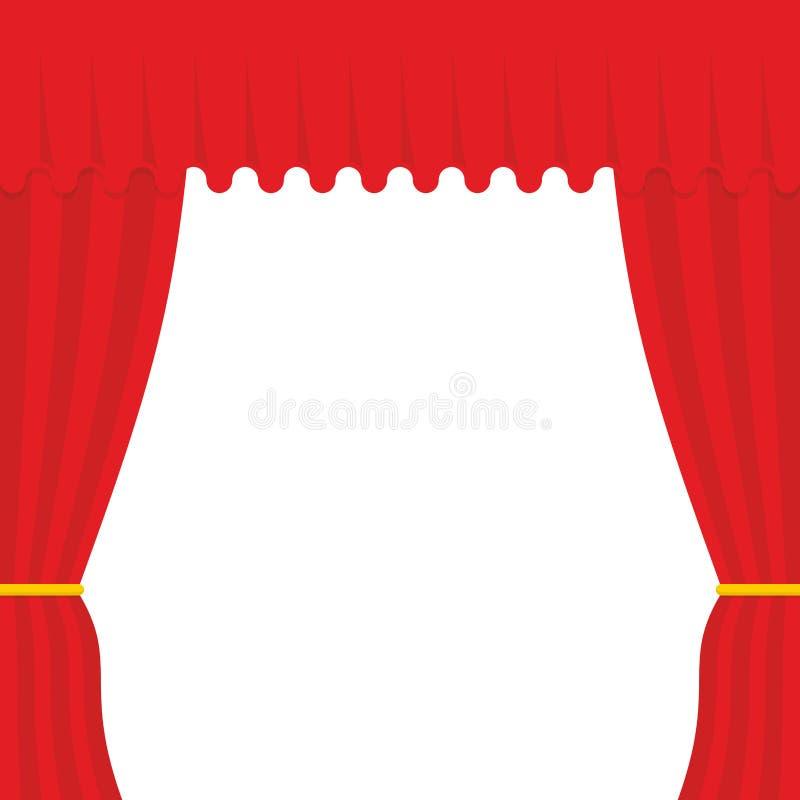 tom plats Röd gardin som är utomhus- Teatergardin royaltyfri illustrationer