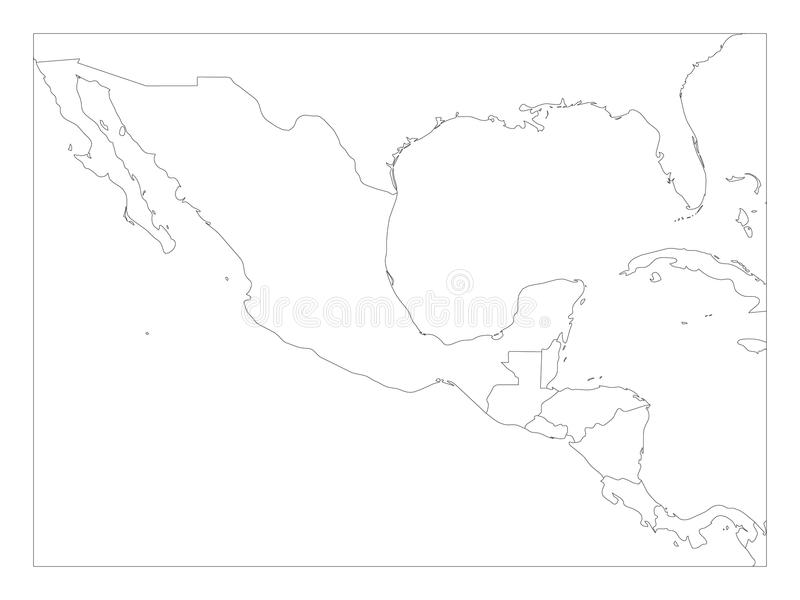 Tom politisk översikt av Central America och Mexico Enkel tunn svart översiktsvektorillustration vektor illustrationer