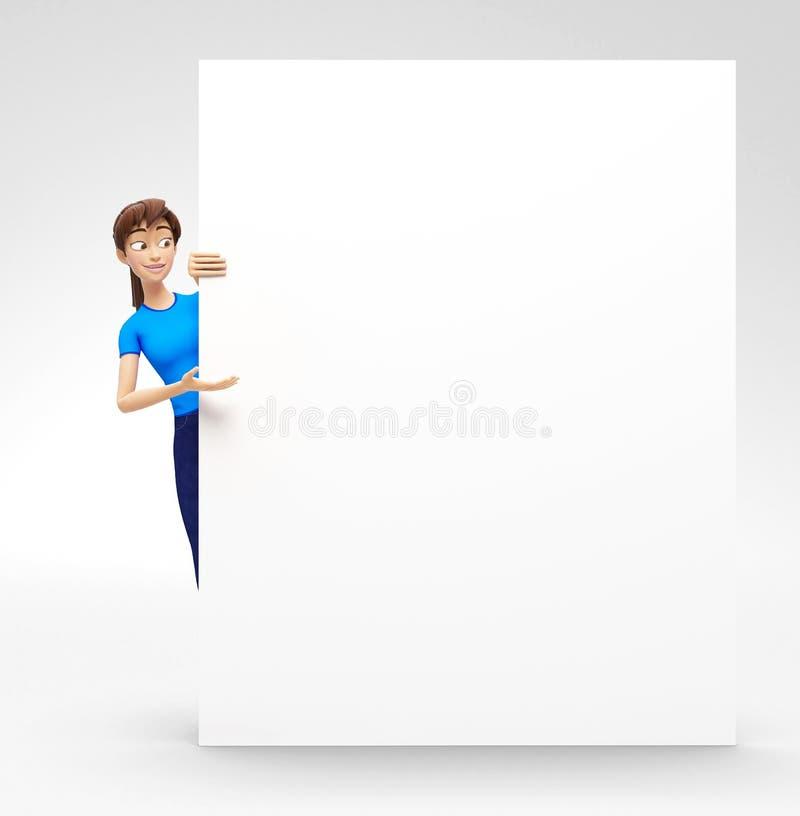 Tom produktaffischtavla och banermodell som meddelas av att le och lyckliga Jenny - kvinnligt tecken för tecknad film 3D i tillfä