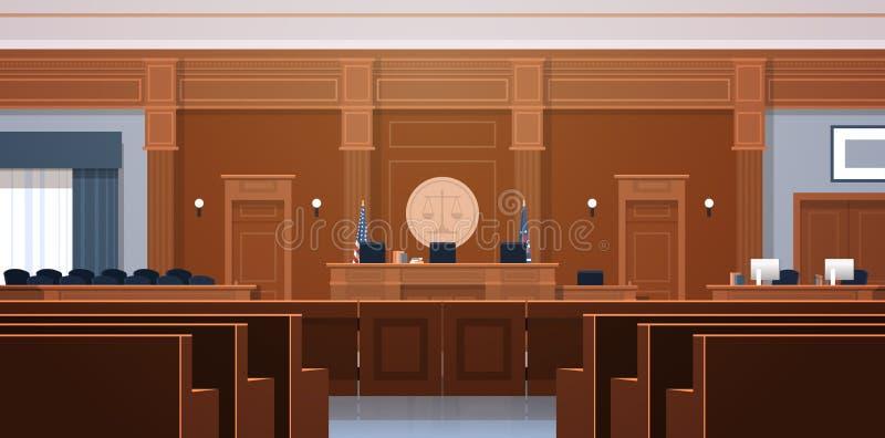 Tom rättssal med rättvisa och rättsvetenskap för modern domstolsbyggnad för platser för ask för domare- och sekreterarearbetsplat royaltyfri illustrationer