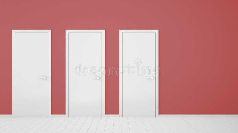Tom röd ruminredesign med stängda dörrar med ramen, dörrhandtag, trävitt golv Val beslut, val, alternativ royaltyfri illustrationer