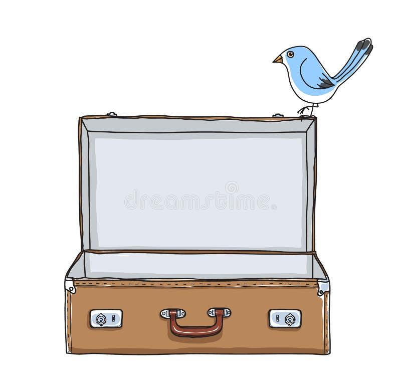 Tom resväska för brun resväskatappning och gullig blå fågel royaltyfri illustrationer