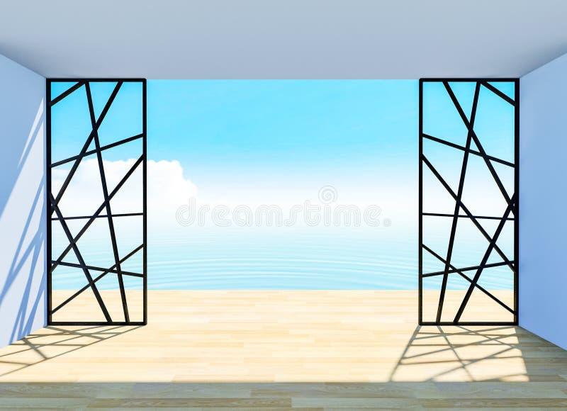 Tom ruminre med trägolv- och havssiktsterrassen royaltyfri illustrationer