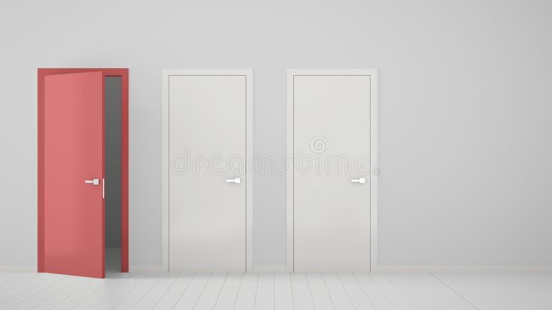 Tom ruminredesign med två vita stängda dörrar och en öppen röd dörr med ramen, trävitt golv Val beslut, fotografering för bildbyråer
