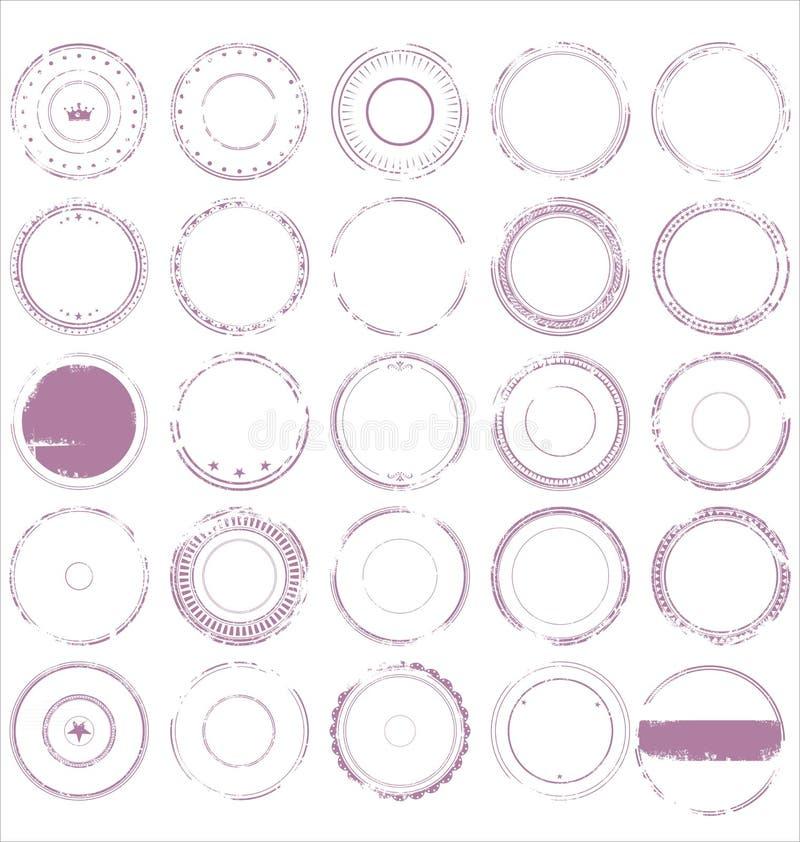 Tom samling för rubber stämpel för grunge royaltyfri illustrationer