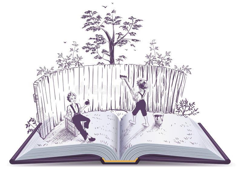 Tom Sawyer dipinge l'illustrazione di libro aperto del recinto illustrazione di stock