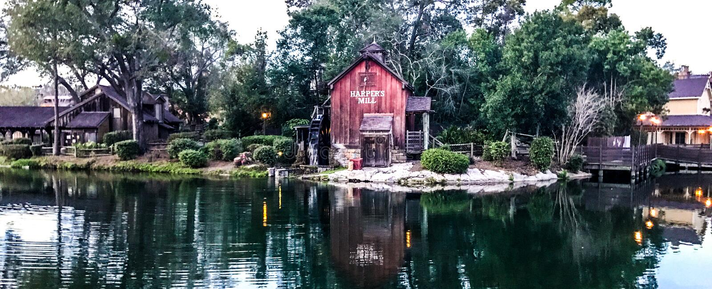 Tom Sawyer Island på den Disney världen, Orlando, FL fotografering för bildbyråer