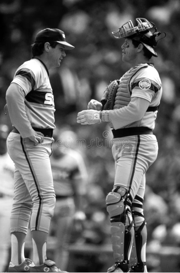 Tom Seaver & Charlton Fisk Chicago White Sox στοκ εικόνες