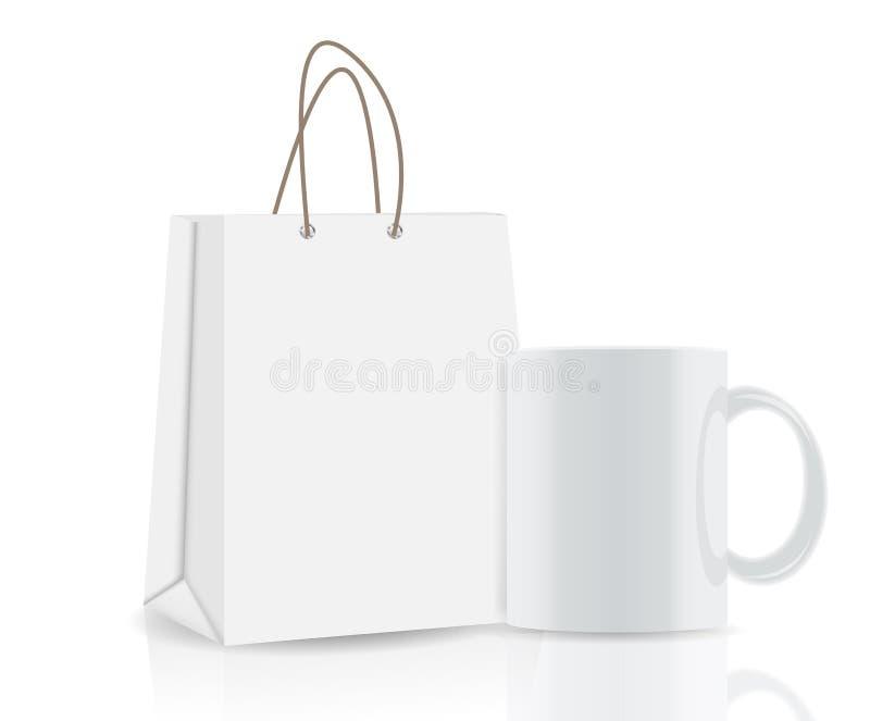 Tom shoppingpåse och kopp för annonsering och stock illustrationer