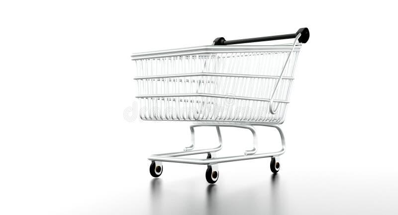 Tom shoppingvagn stock illustrationer