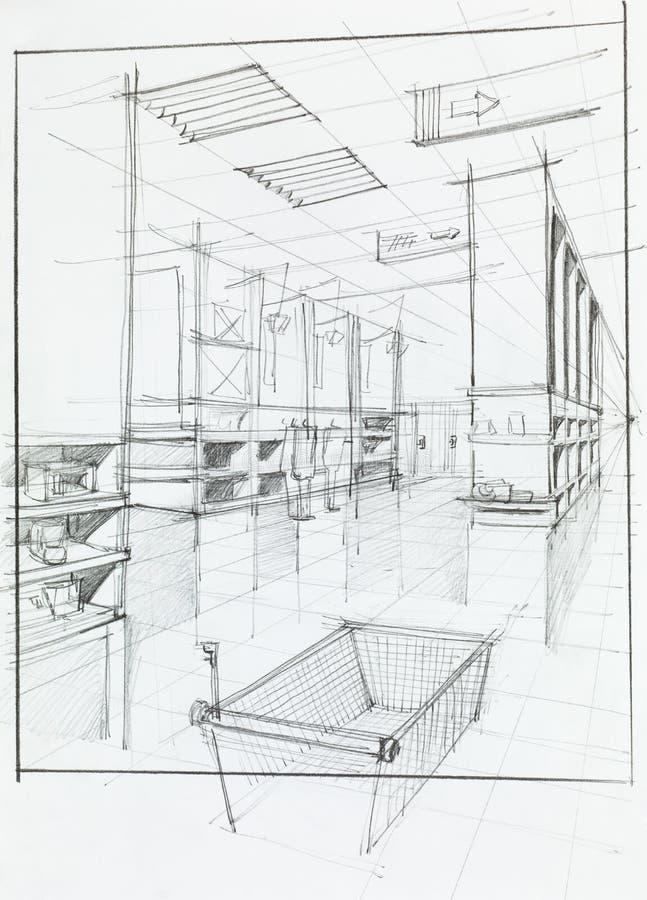 Tom shoppingvagn i lager stock illustrationer