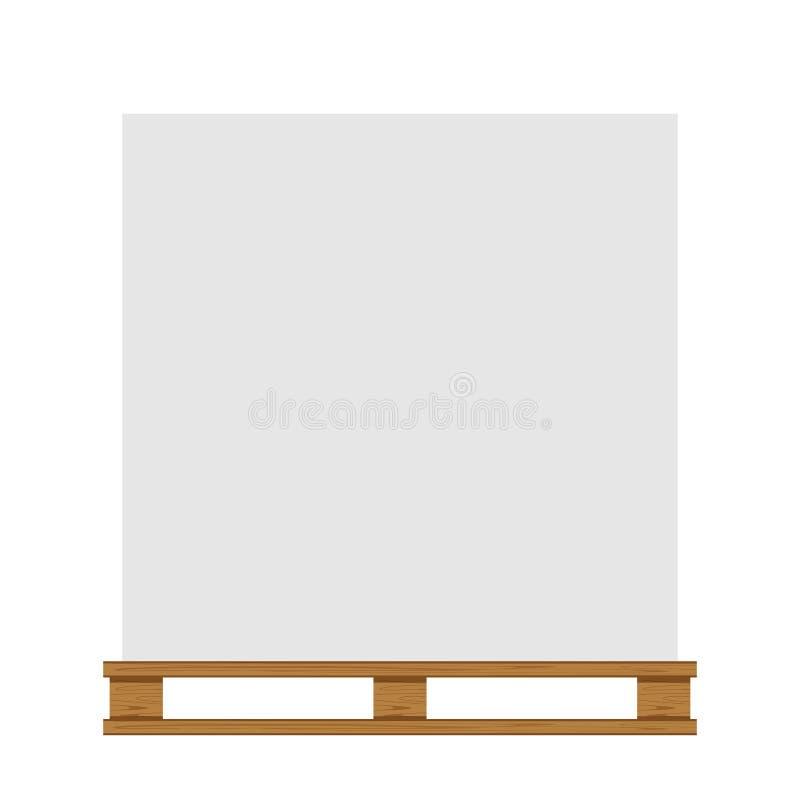 Tom skogsbevuxen palett som isoleras på vitt bakgrunds- och kopieringsutrymme, tomt palettträ för att förlägga produktaskbun vektor illustrationer