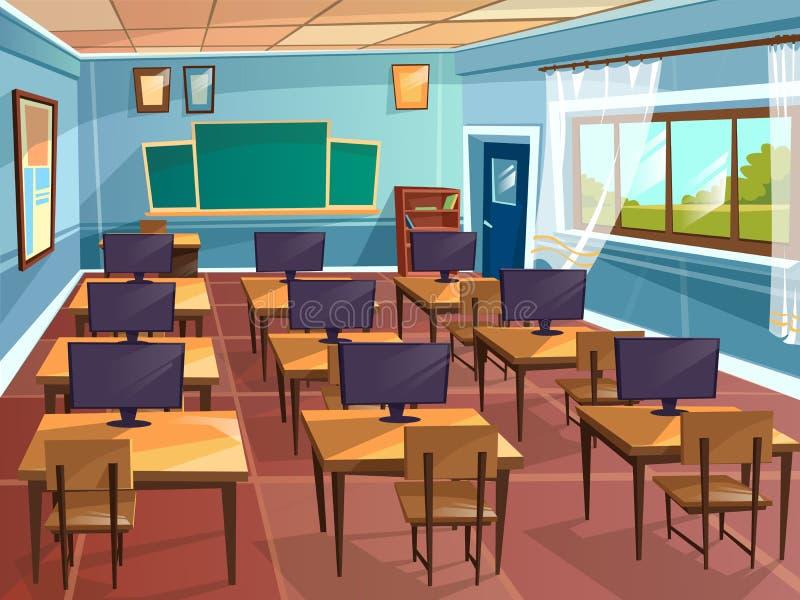 Tom skola för vektortecknad film, högskolaklassrum stock illustrationer