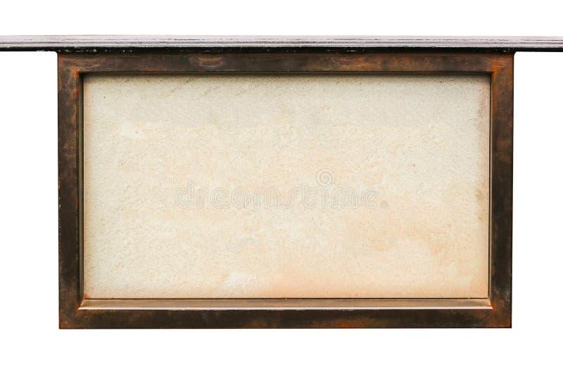 Tom skylt på träramen, isolerad vit bakgrund royaltyfria foton