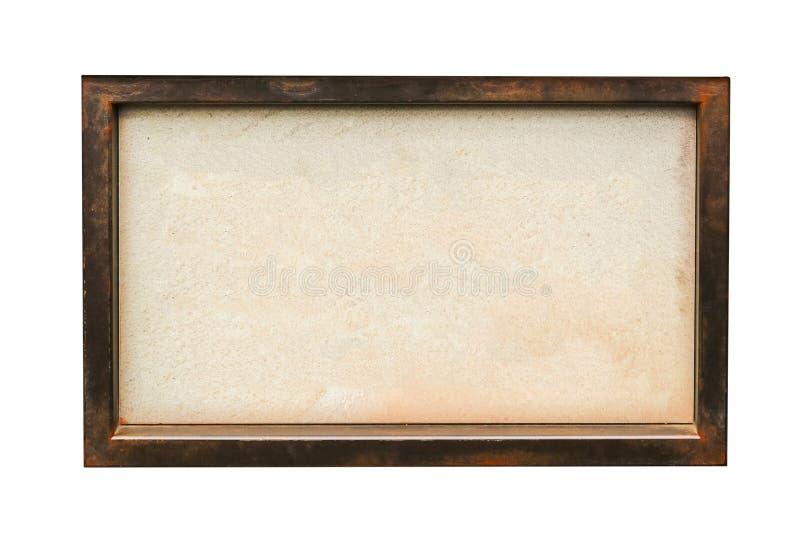 Tom skylt på träramen, isolerad vit bakgrund royaltyfri fotografi