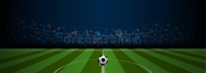 Tom stadion för arena för fotbollfält med realistisk fotboll vektor illustrationer