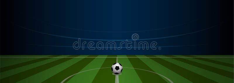 Tom stadion för arena för fotbollfält med realistisk fotboll på vektor illustrationer