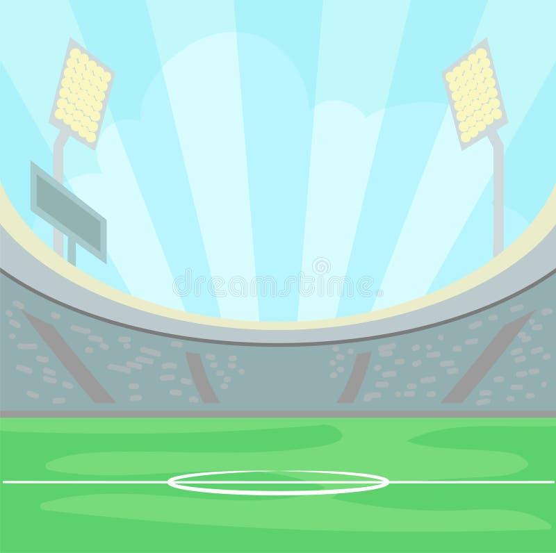 Tom stadion med ett grönt gräs i dagtiden under en blå himmel, upplyst vektor för bakgrund för sportfält stock illustrationer