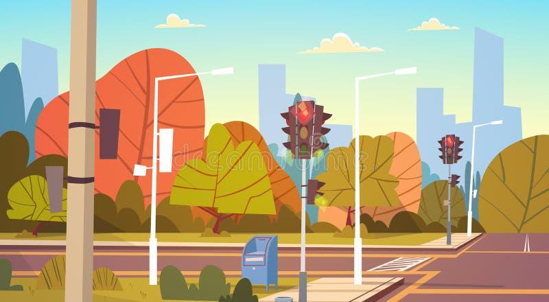 Tom stadsgata för väg med trafikljus royaltyfri illustrationer