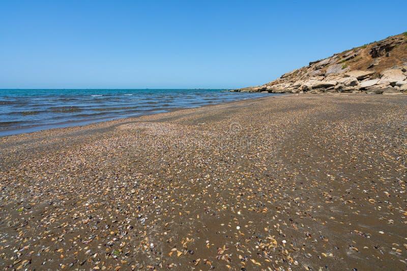 Tom strand av det varma blåa havet arkivbilder