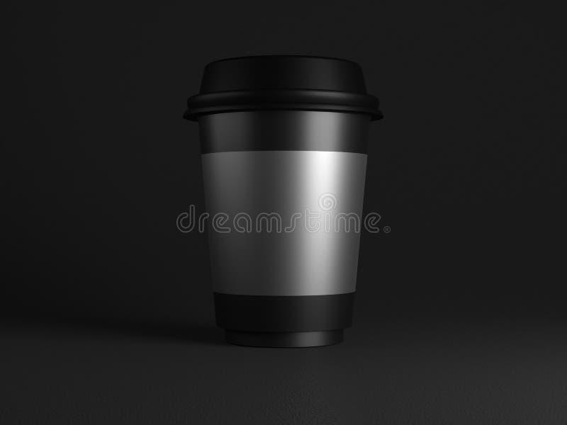 Tom svart disponibel pappers- kopp med plast- lockåtlöje upp på svart bakgrund, tolkning 3d Tomt polystyrenkaffe royaltyfri illustrationer